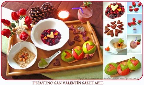 collage desayuno San Valentín