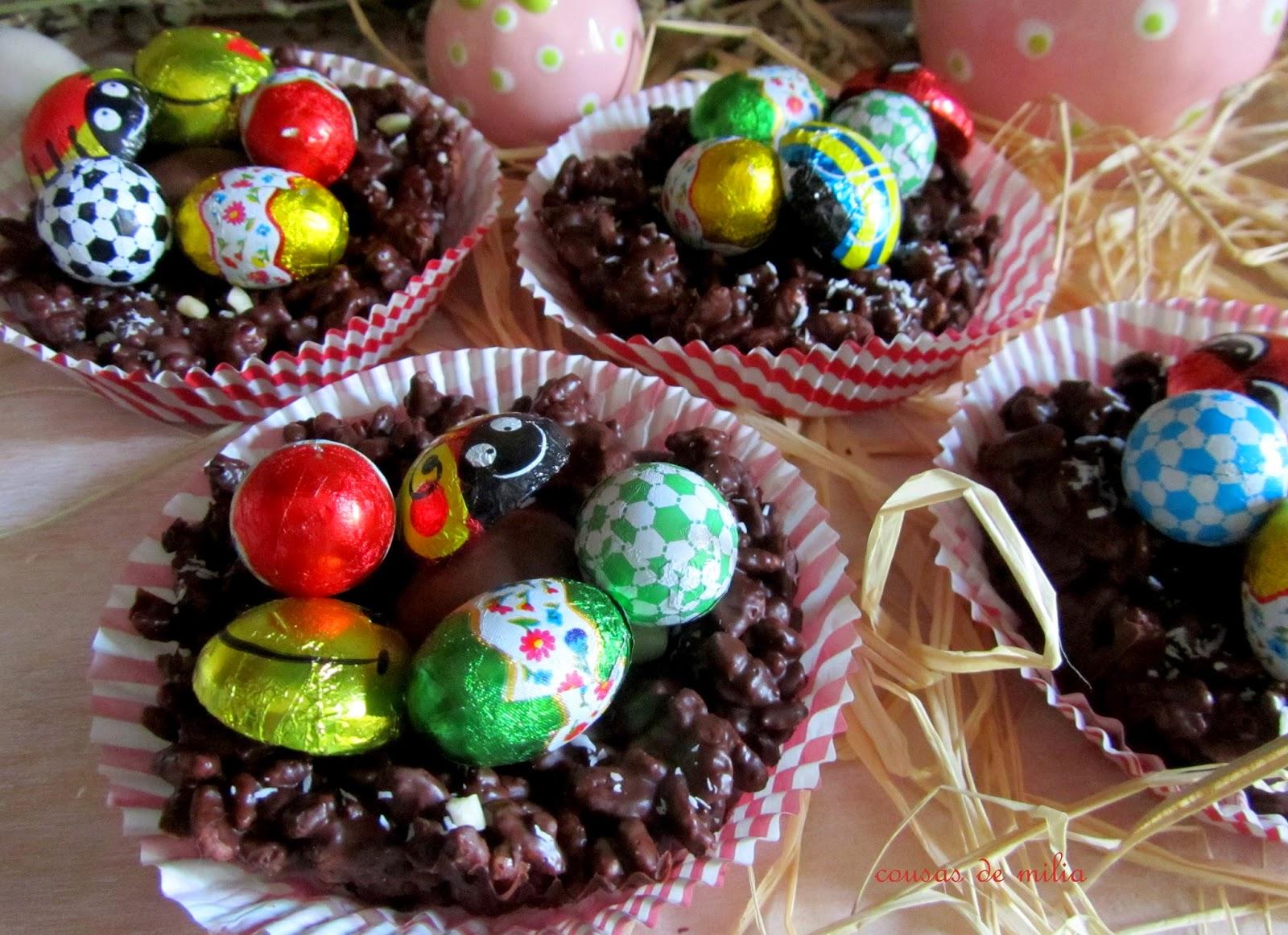 Decoracion de nidos de chocolate con huevos de pascua for Decoracion de pascua